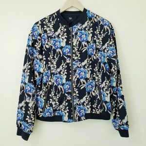 GAP Bomber Coat Blue Floral Print Medium
